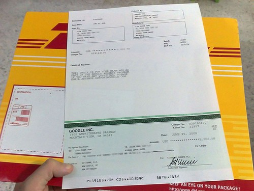 how do I track my adsense cheque via DHL