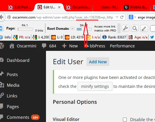 discover wp user ID