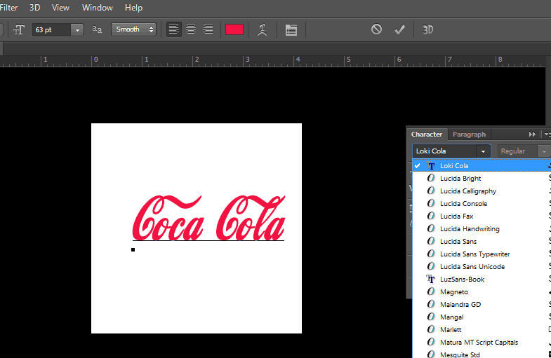 photoshop displays fonts