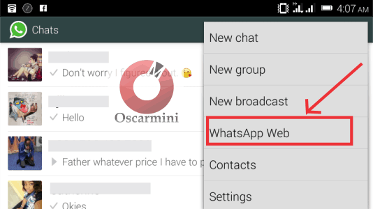 selecting whatsapp web from menu