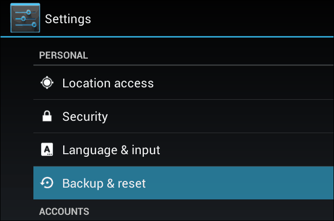 Resettin an Android Device