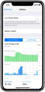 iOS battery settings